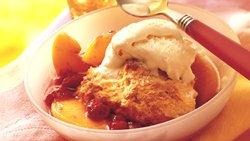 Peach and Raspberry Cobbler