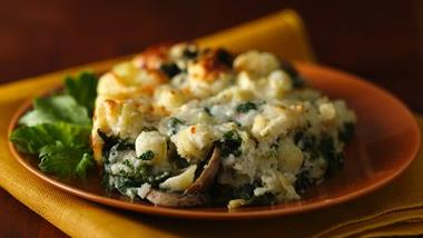 Three Cheese Spinach and Pasta Bake
