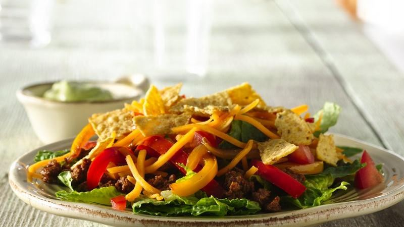 Ground Beef Fajita Taco Salad