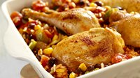 Skinny Chicken, Rice, and Beans Bake