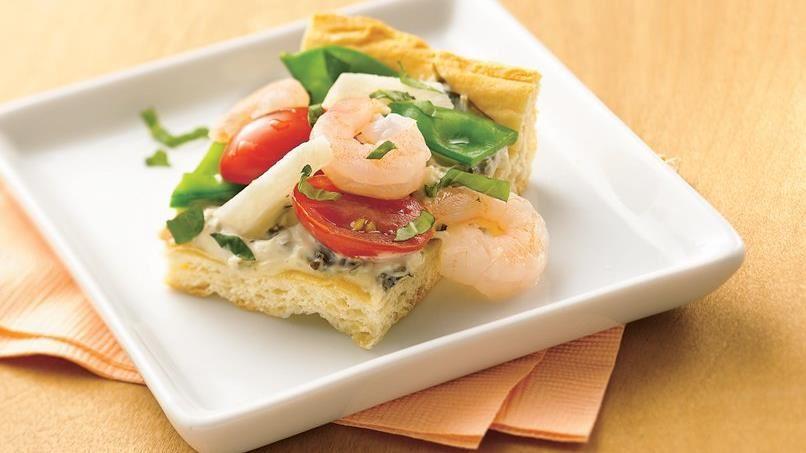 Shrimp and Veggie Appetizer Pizza