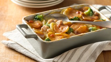 Cheddar Bacon and Ham Casserole