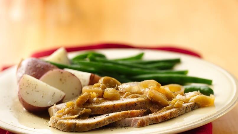 Pork Roast with Mushroom-Leek Compote