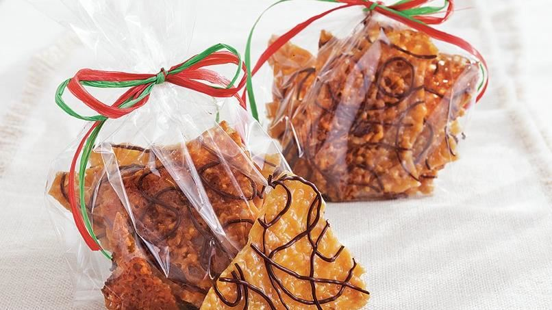 Chocolate-Drizzled Lace Brittle