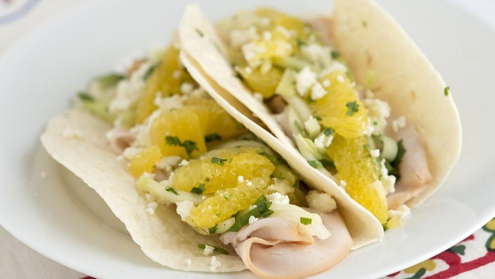 Turkey, Chayote and Orange Tacos