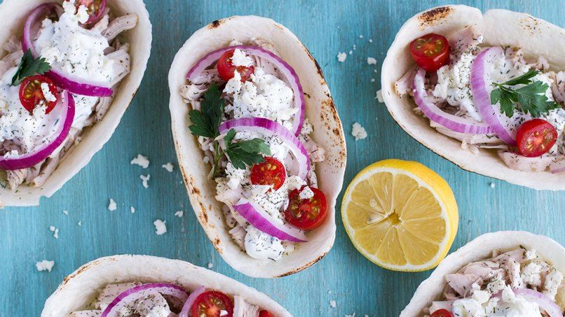 Slow-Cooker Chicken Gyro Boats