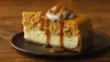 Pumpkin Cheesecake with Caramel Sauce