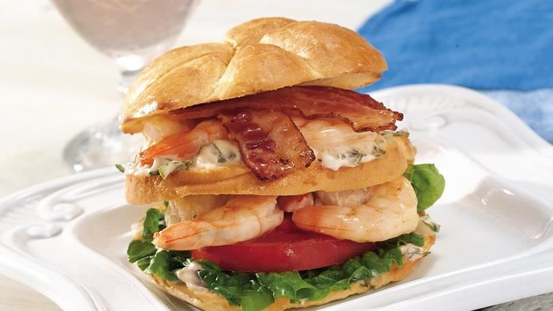 Grilled Shrimp Club Sandwiches