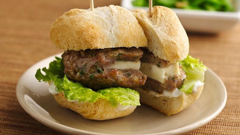 Mini Greek Turkey Burgers with Cucumber Sauce