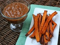 Homemade Peach Ketchup with Sweet Potato Fries