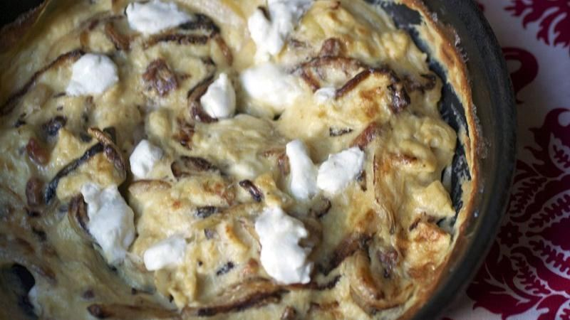 Caramelized Onion, Pancetta and Goat Cheese Frittata