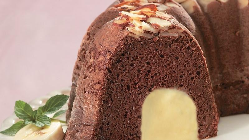 Chocolate Almond Cake with White Chocolate Mousse