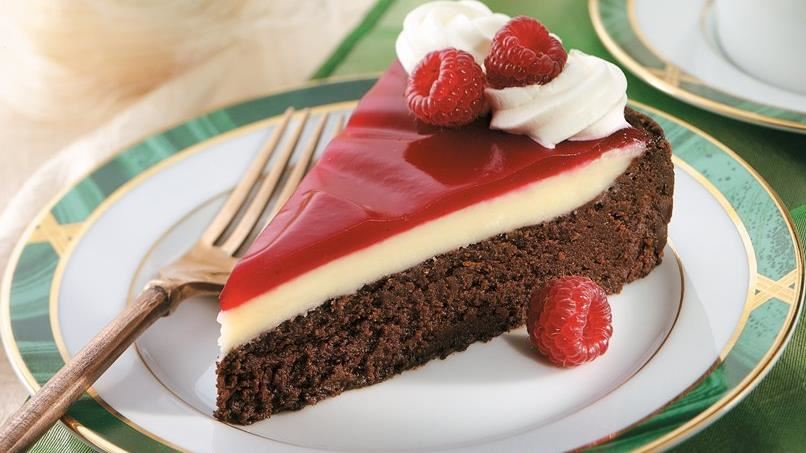 Raspberry-Glazed Double Chocolate Dessert