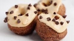 Baked Chocolate Doughnuts with Peanut Butter Glaze
