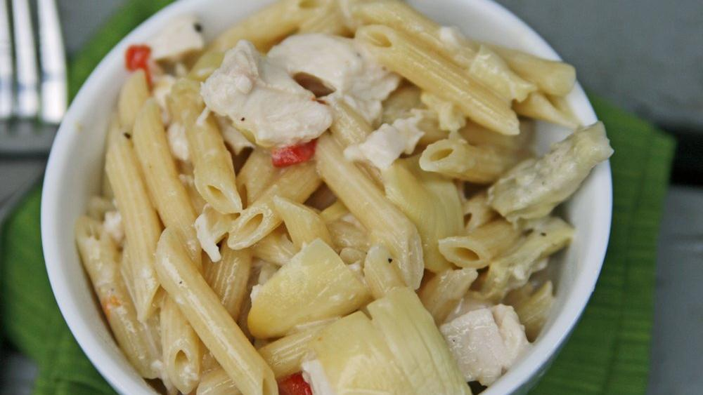 Roasted Chicken and Artichoke Penne with Creamy Gouda Sauce