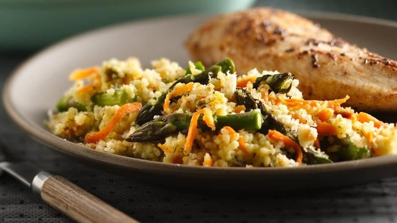 Baked Asparagus and Couscous