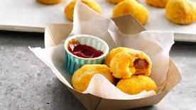 Cheesy Sriracha Corn Dog Poppers