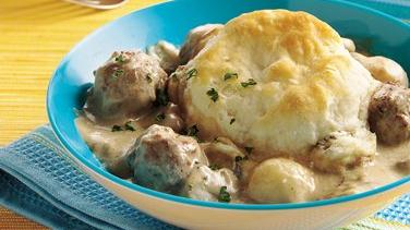 Meatball Stroganoff Biscuit Casserole (Cooking for Two)