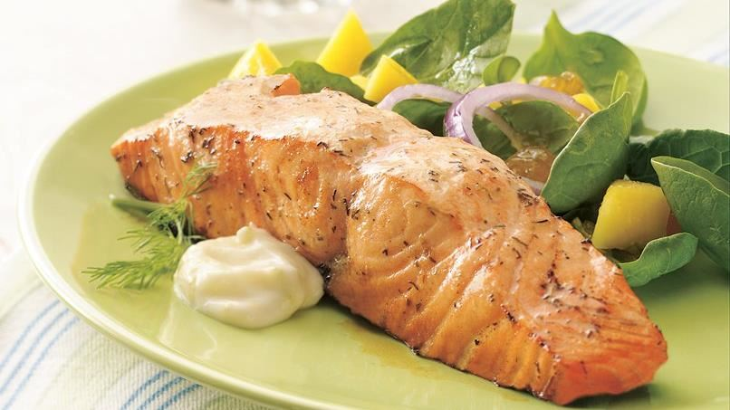 Grilled Salmon with Fresh Lime Cream