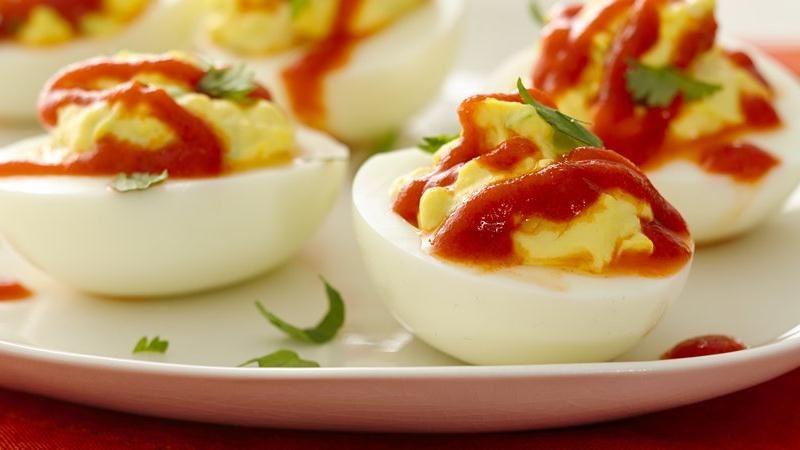 Spicy Sriracha Deviled Eggs recipe from Betty Crocker