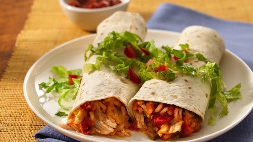 Easy Chicken-Rice Burritos