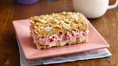 Strawberry Marshmallow Crisp Ice Cream Sandwiches