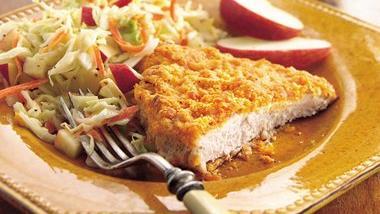 Oven-Fried Pork Cutlets with Apple Slaw