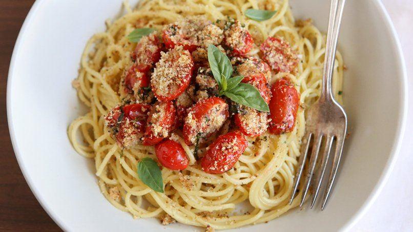 Roasted Tomato-Basil Spaghetti with Bread Crumbs
