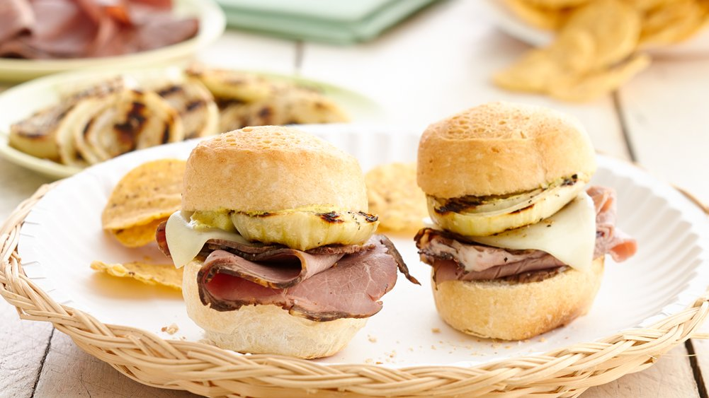Grilled Onion and Roast Beef Sliders