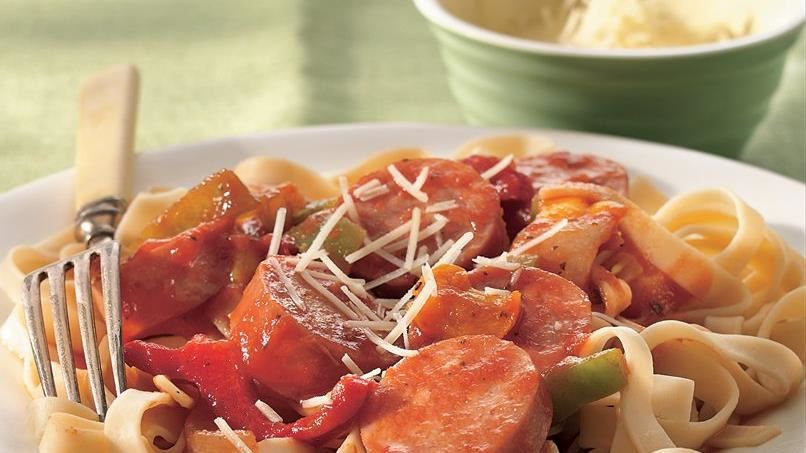 Sausage with Fettuccine