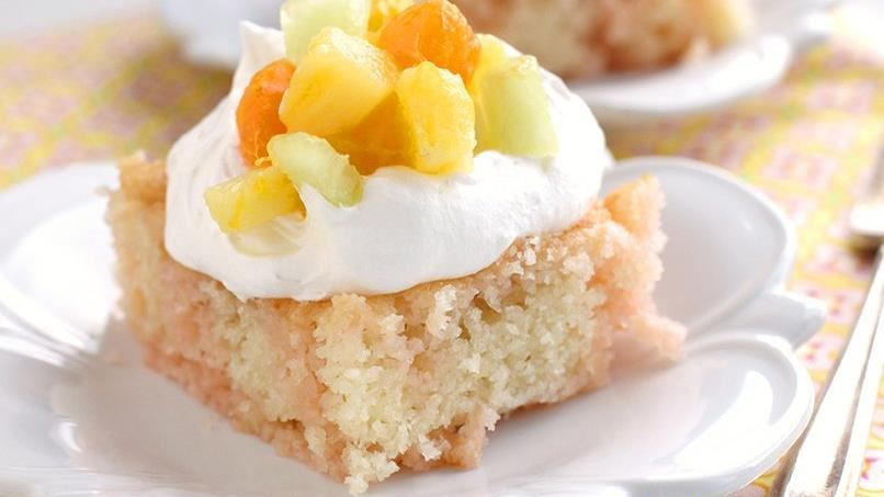 Peach-Mango Sunrise Poke Cake
