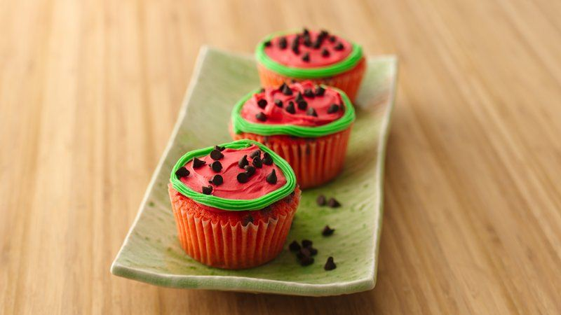 Watermelon Slice Cupcakes recipe from Betty Crocker