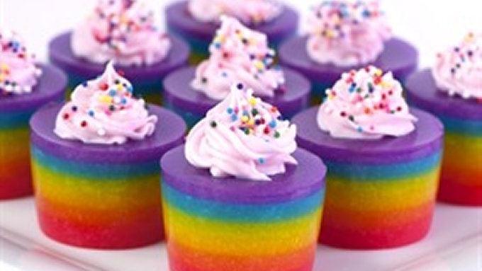 Double Rainbow Cake Jelly Shot recipe - from Tablespoon!