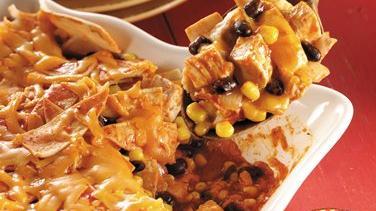 Chicken, Black Bean and Corn Enchilada Casserole