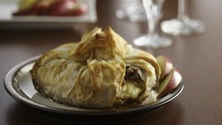 Phyllo-Wrapped Brie with Fig Preserves and Toasted Walnuts