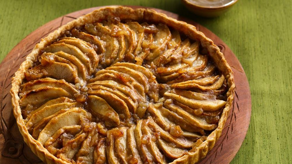 Apple-Ginger Tart with Cider-Bourbon Sauce