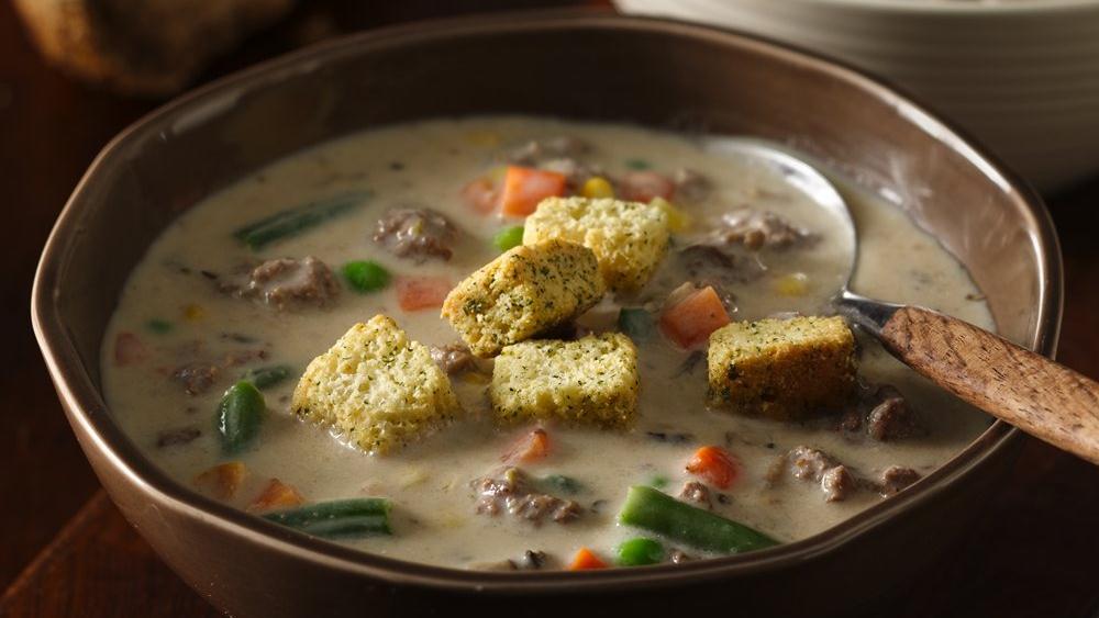 Veggie-Beef Chowder with Mozzarella