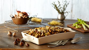 Vegetarian Ciabatta Stuffing with Mushrooms and Chestnuts