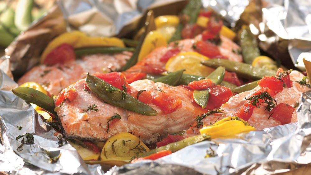 Grilled Dilled Salmon and Vegetable Packet recipe from Pillsbury.com
