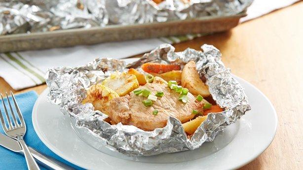 Grilled Honey BBQ Pork Foil Pack