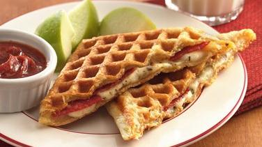 Waffled pizza dippers recipe from for Pie iron recipes with crescent rolls