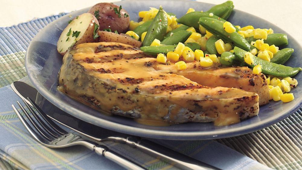 Grilled Salmon with Sugar Snaps and Corn