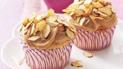 Toasted Almond Cupcakes with Caramel Frosting
