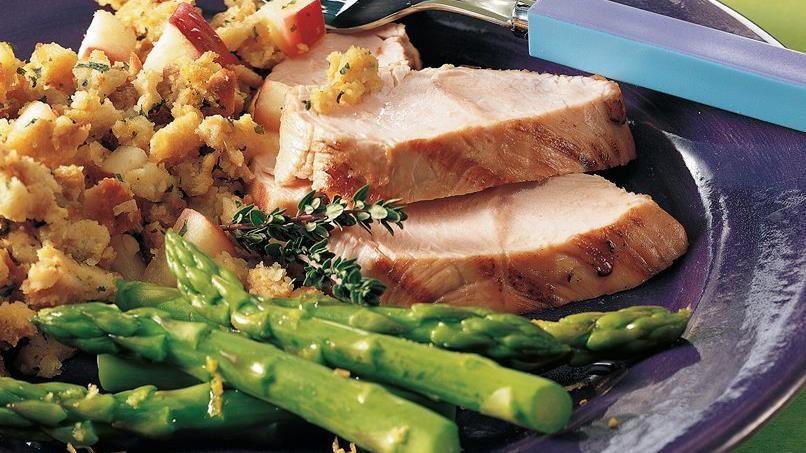 Grilled Turkey Tenderloin with Stuffing