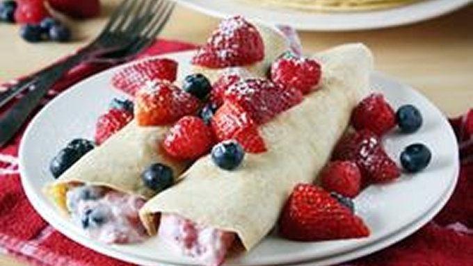 Greek Yogurt and Berry-Stuffed Wheat Crepes