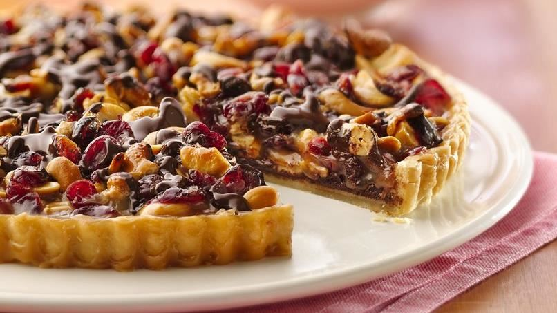 Chocolate-Cashew-Cranberry Tart