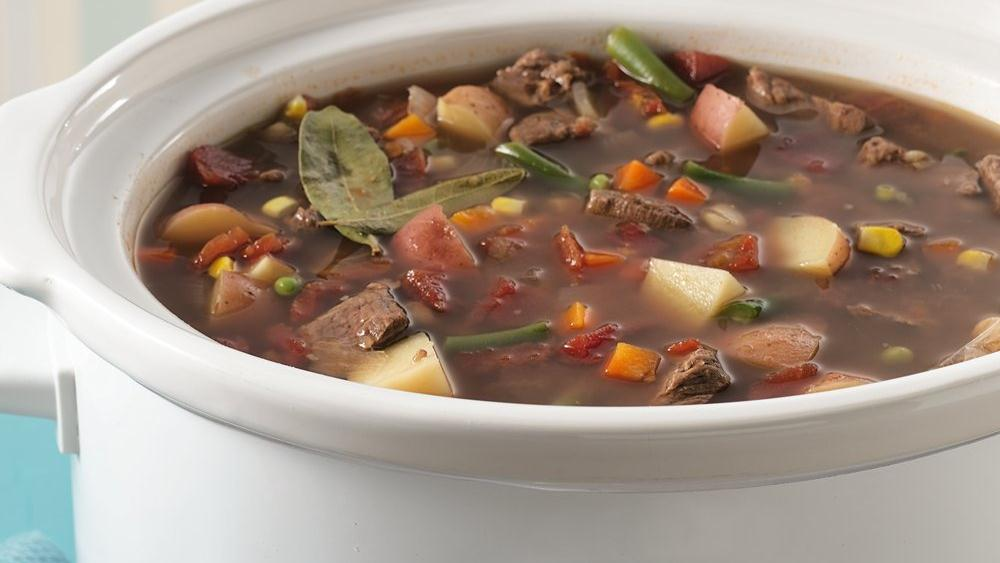Slow Cooker Vegetable Beef Soup recipe from Pillsbury.com