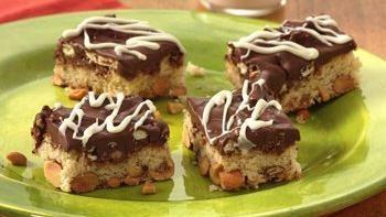 Nutty Chocolate Pretzel Bars