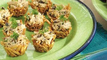 Crispy Curried Chicken Salad Nests
