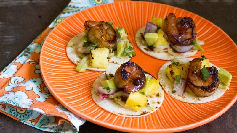 Mini Pineapple Rum Shrimp Tostadas
